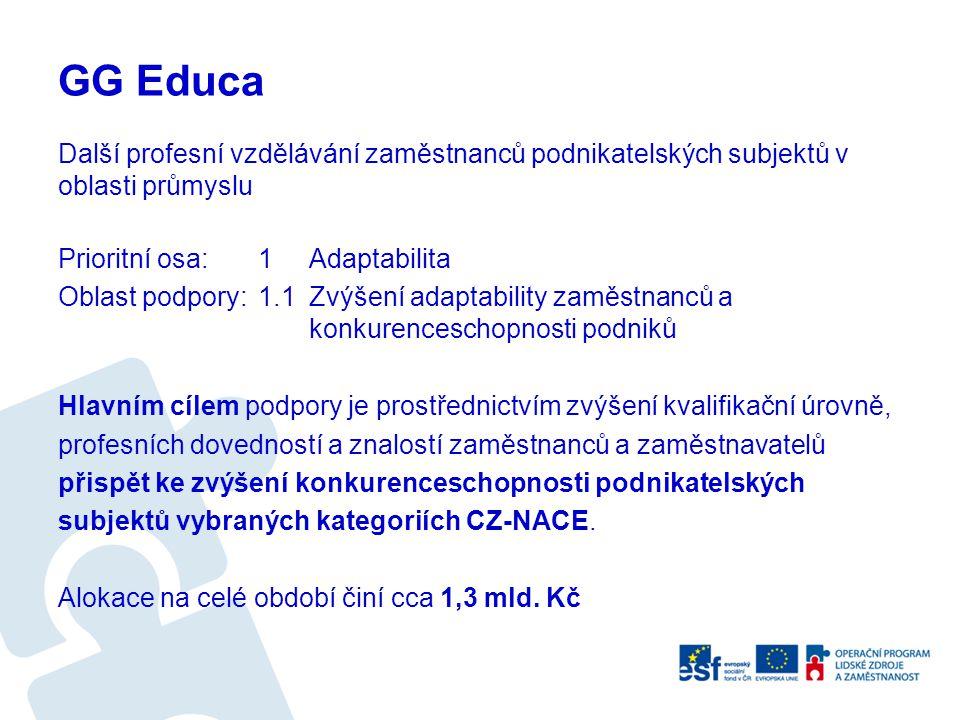 GG Educa Další profesní vzdělávání zaměstnanců podnikatelských subjektů v oblasti průmyslu
