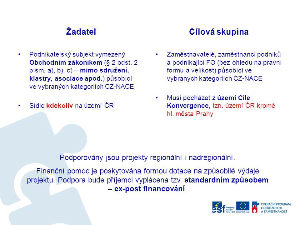 Podporovány jsou projekty regionální i nadregionální.