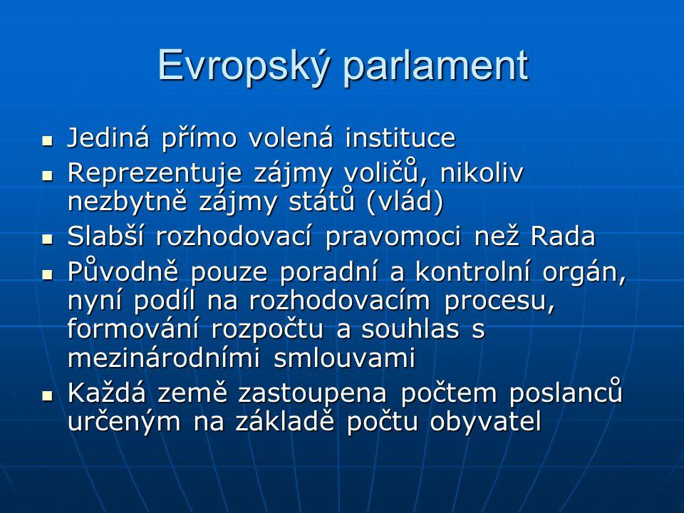 Evropský parlament Jediná přímo volená instituce