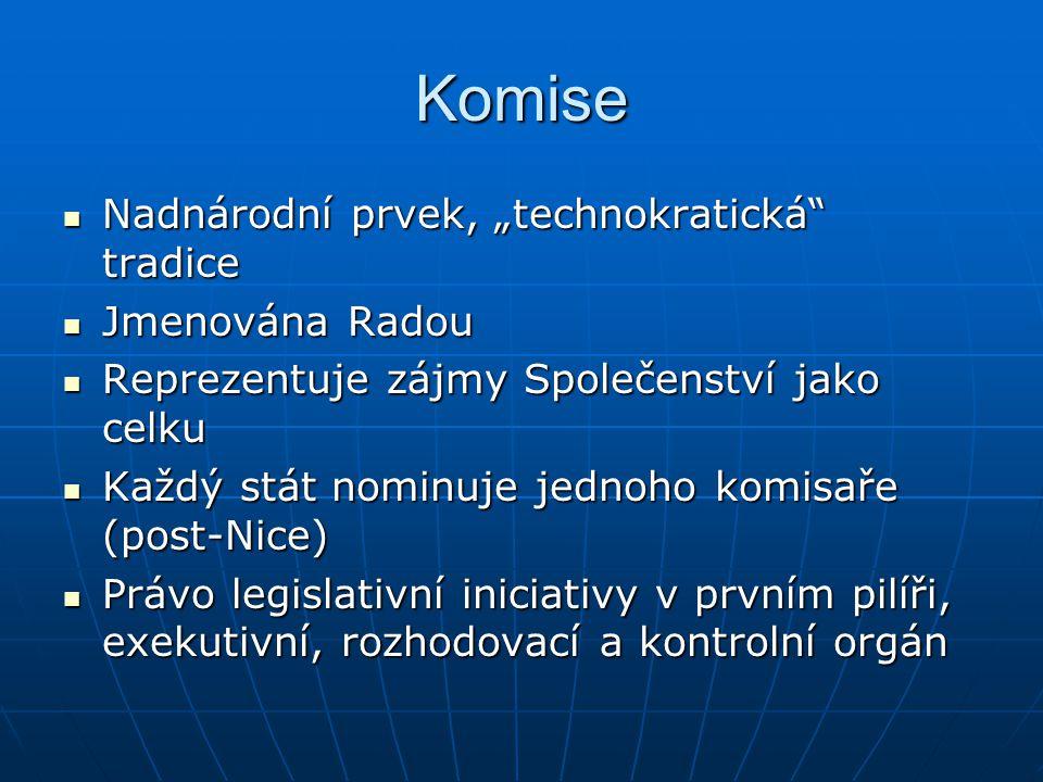 """Komise Nadnárodní prvek, """"technokratická tradice Jmenována Radou"""