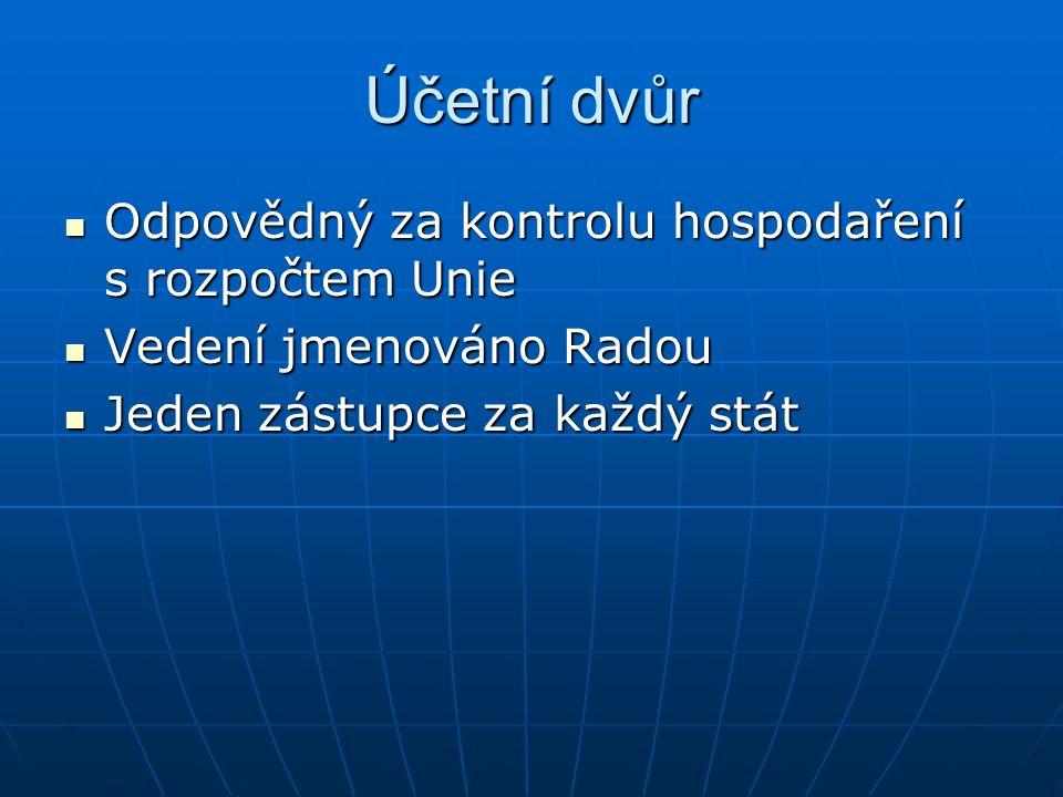 Účetní dvůr Odpovědný za kontrolu hospodaření s rozpočtem Unie