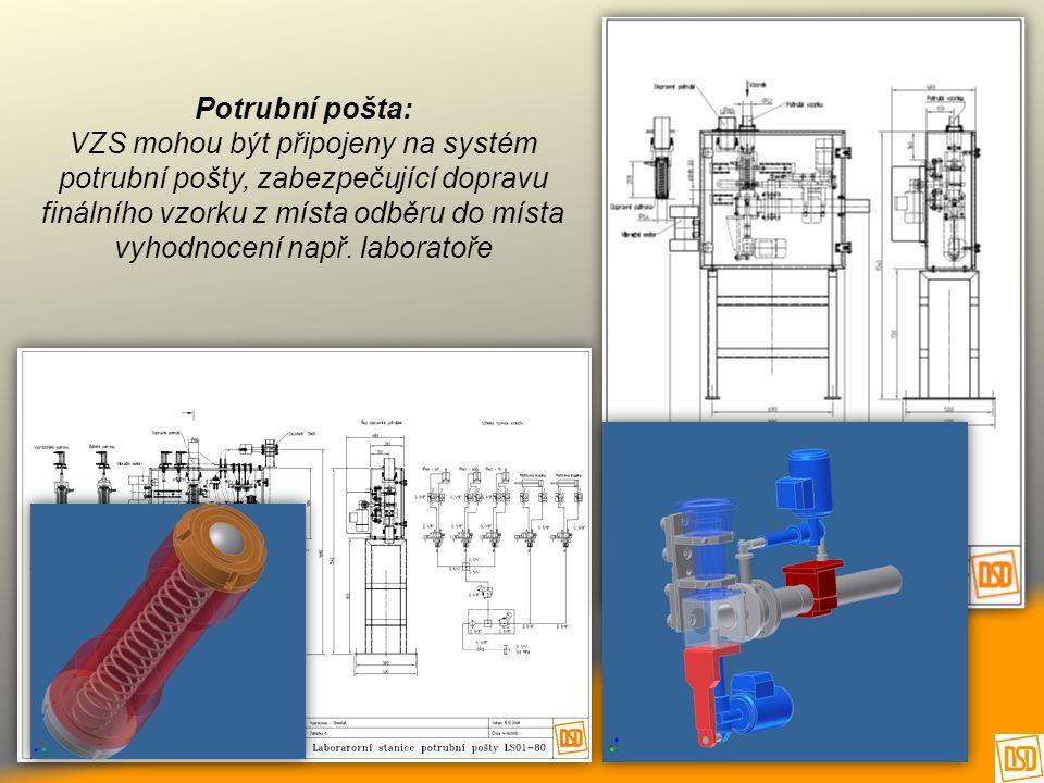 Potrubní pošta: VZS mohou být připojeny na systém potrubní pošty, zabezpečující dopravu finálního vzorku z místa odběru do místa vyhodnocení např.