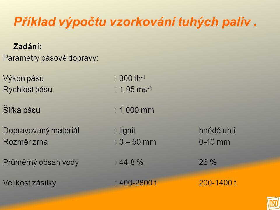 Příklad výpočtu vzorkování tuhých paliv .