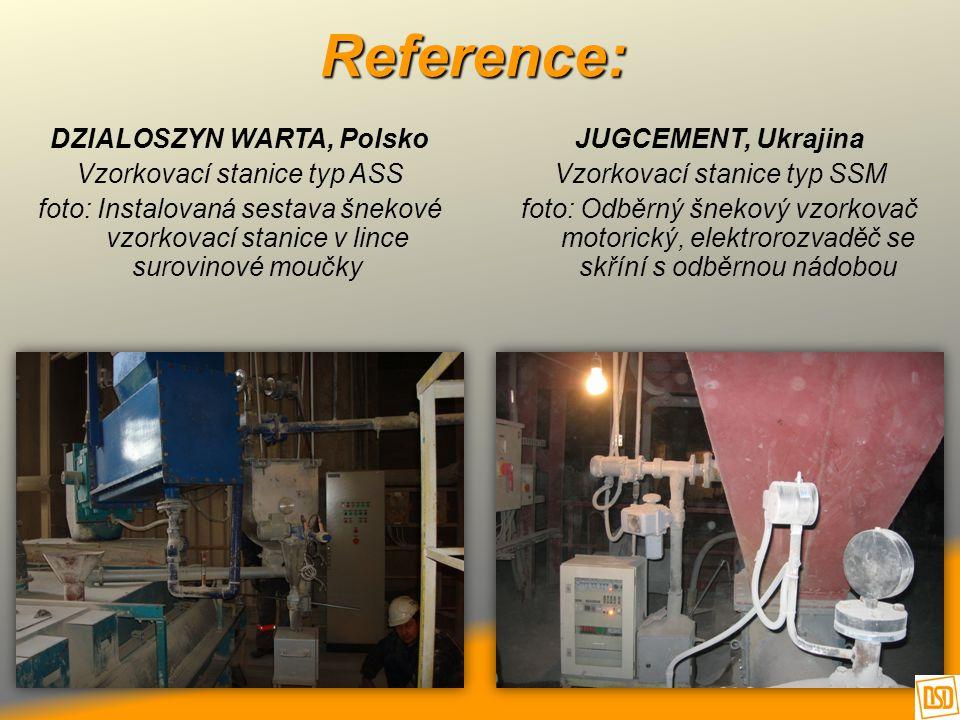Reference: DZIALOSZYN WARTA, Polsko Vzorkovací stanice typ ASS foto: Instalovaná sestava šnekové vzorkovací stanice v lince surovinové moučky