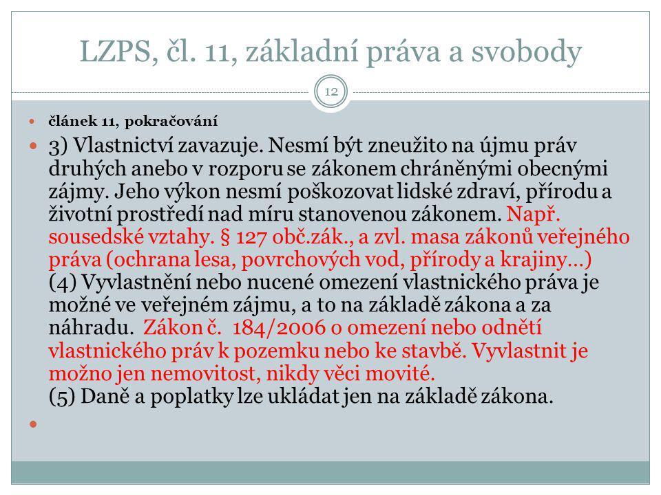 LZPS, čl. 11, základní práva a svobody