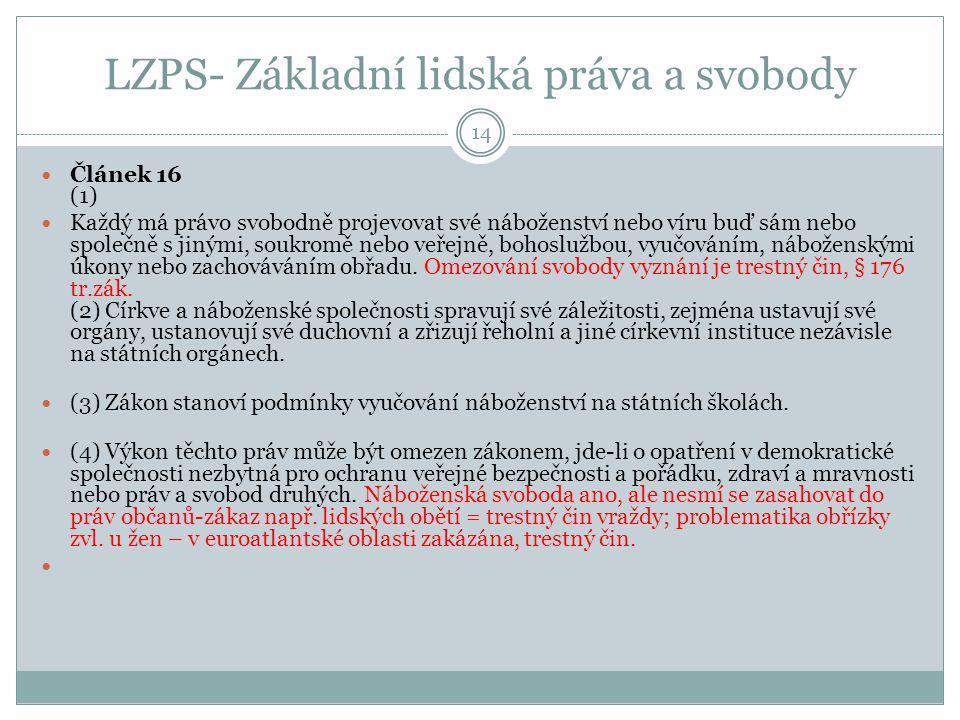 LZPS- Základní lidská práva a svobody