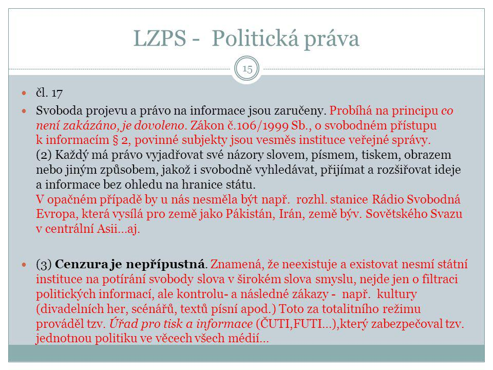 LZPS - Politická práva čl. 17