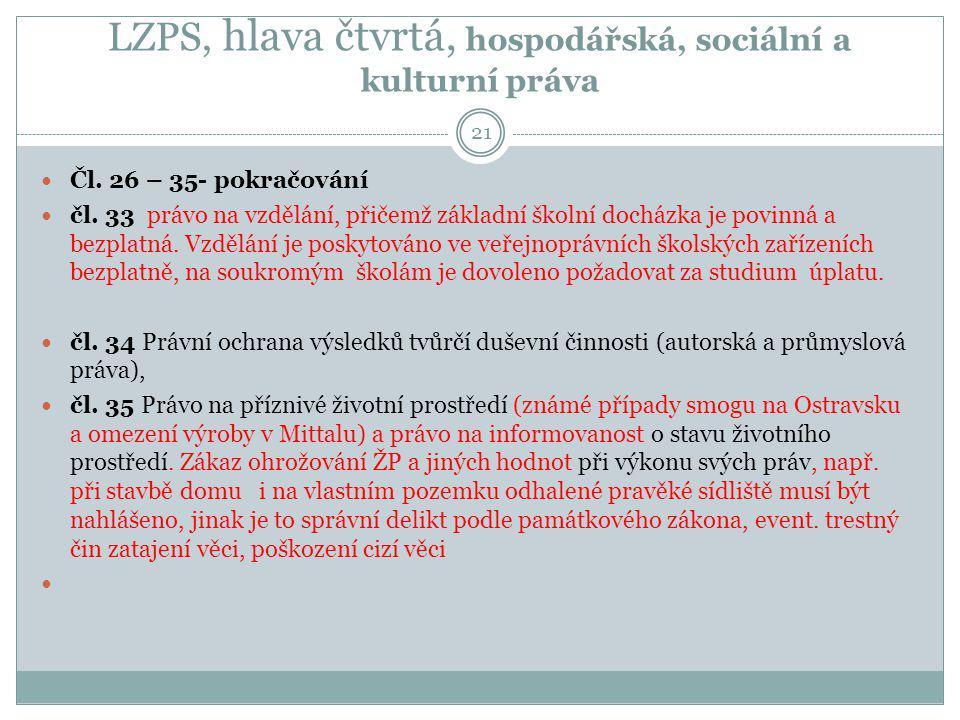 LZPS, hlava čtvrtá, hospodářská, sociální a kulturní práva