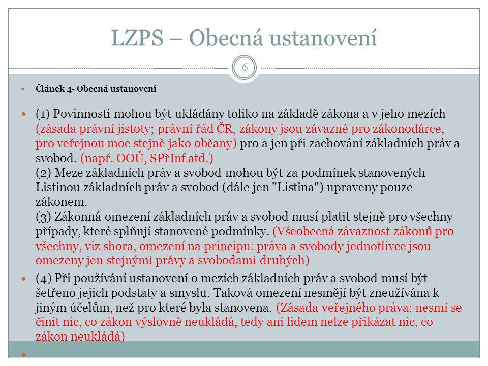 LZPS – Obecná ustanovení