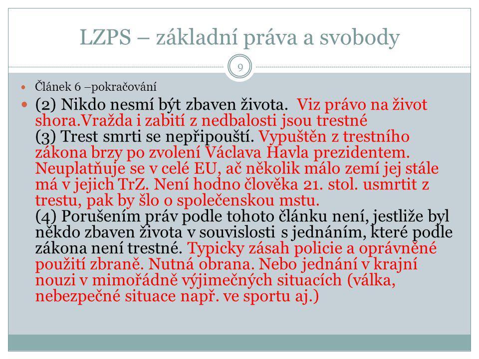 LZPS – základní práva a svobody