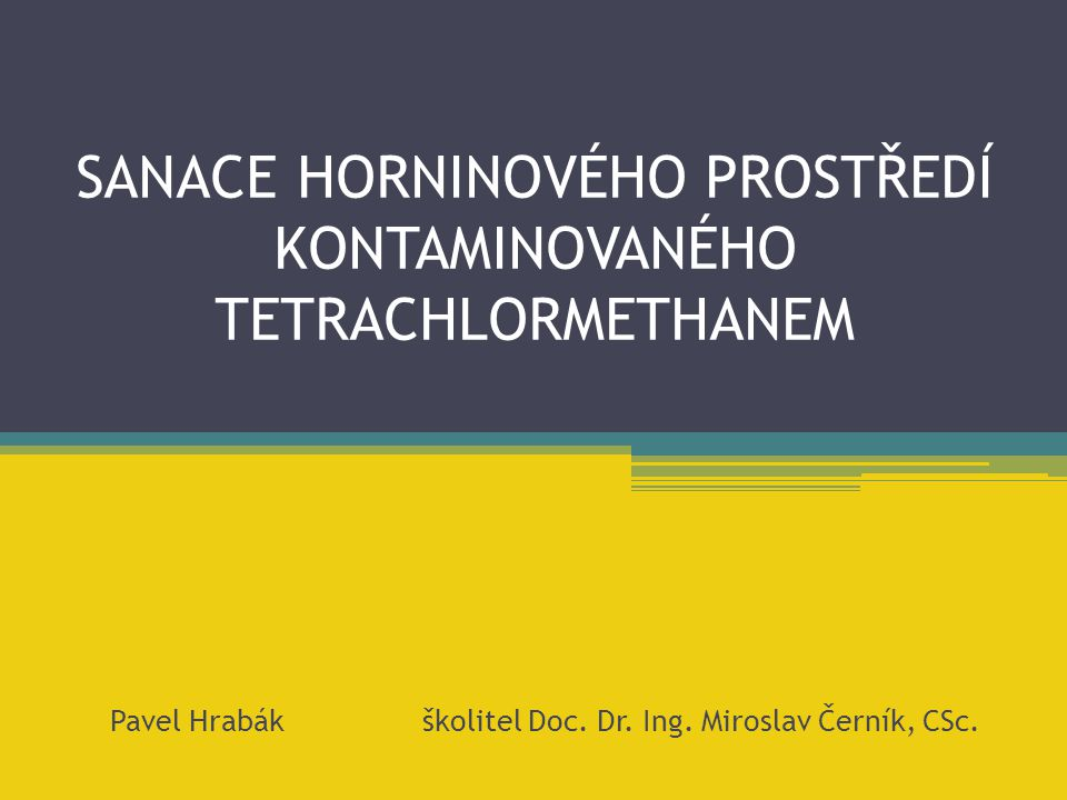 SANACE HORNINOVÉHO PROSTŘEDÍ KONTAMINOVANÉHO TETRACHLORMETHANEM