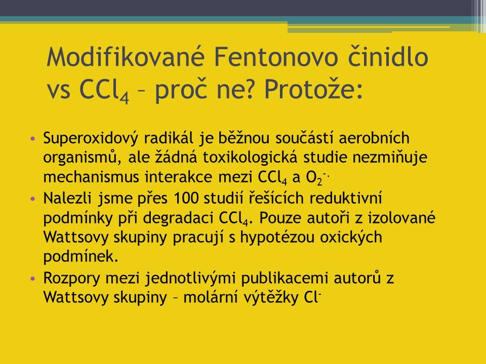 Modifikované Fentonovo činidlo vs CCl4 – proč ne Protože: