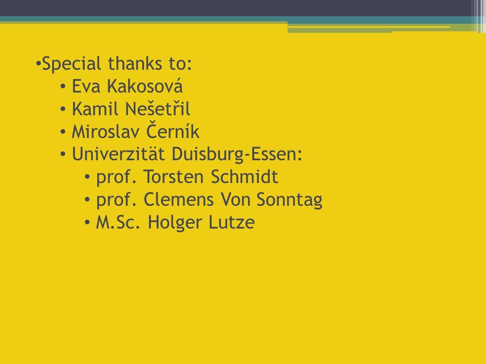 Special thanks to: Eva Kakosová. Kamil Nešetřil. Miroslav Černík. Univerzität Duisburg-Essen: prof. Torsten Schmidt.