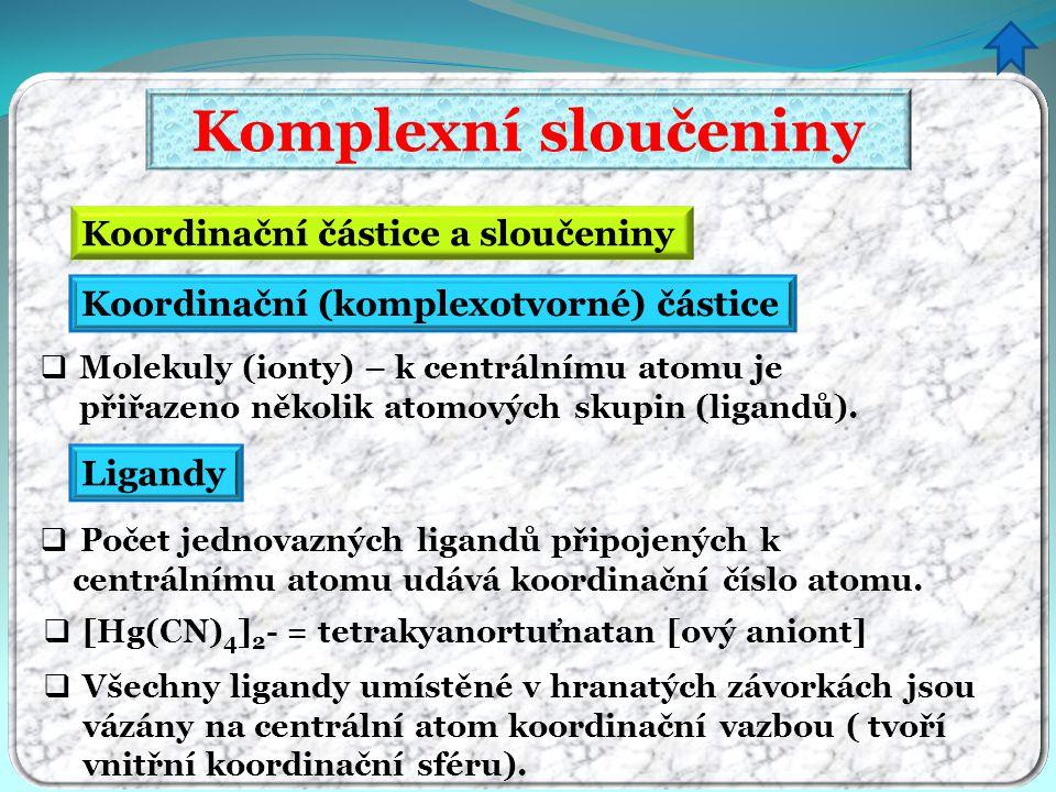 Komplexní sloučeniny Koordinační částice a sloučeniny