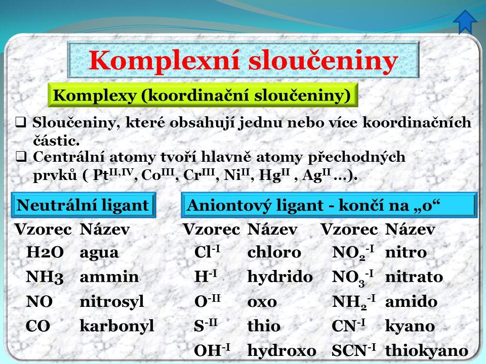 Komplexní sloučeniny Komplexy (koordinační sloučeniny)