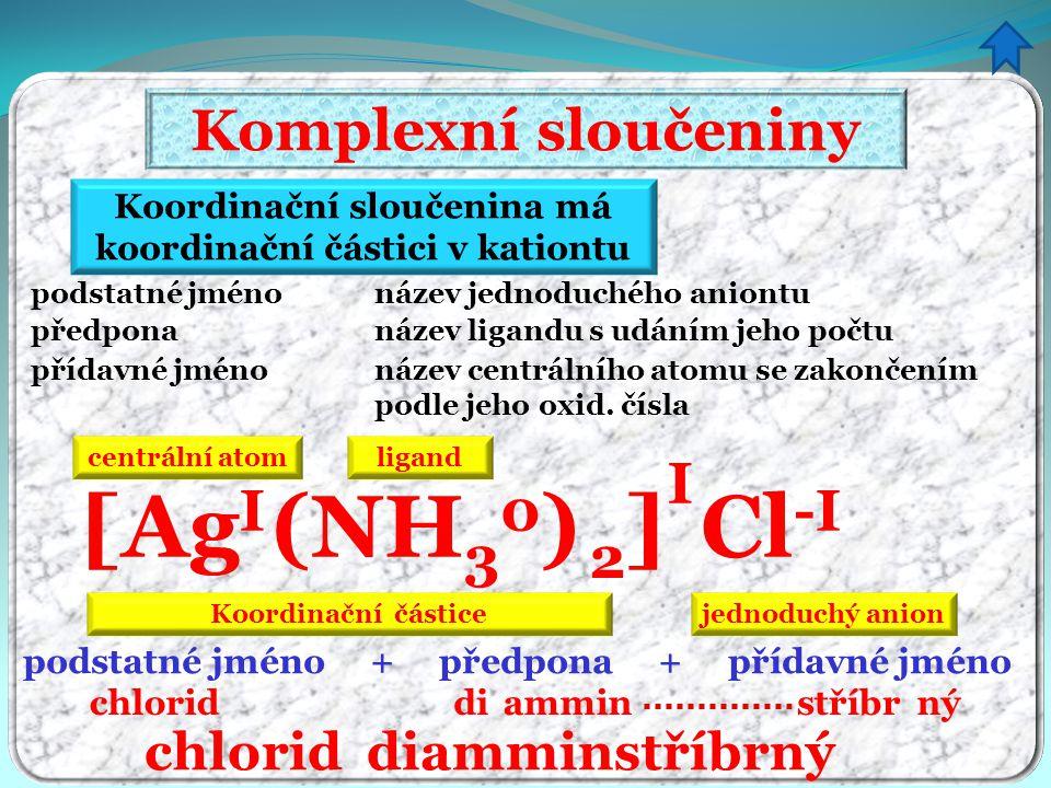 Koordinační sloučenina má koordinační částici v kationtu