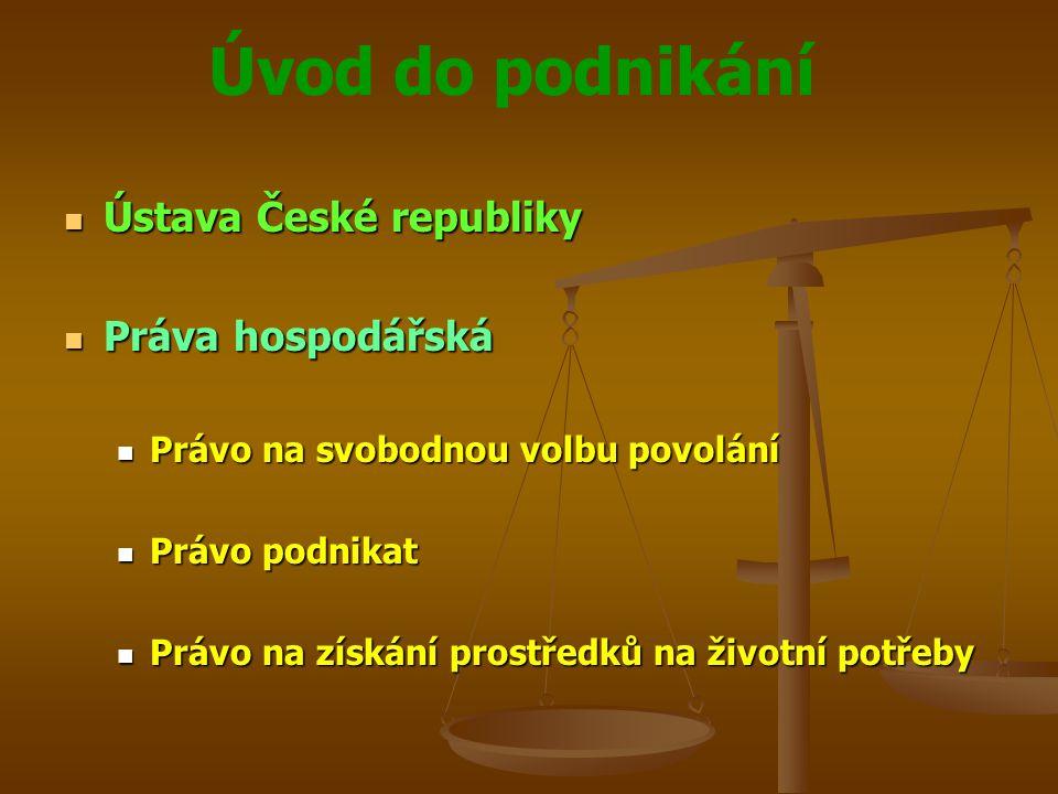 Ústava České republiky Práva hospodářská