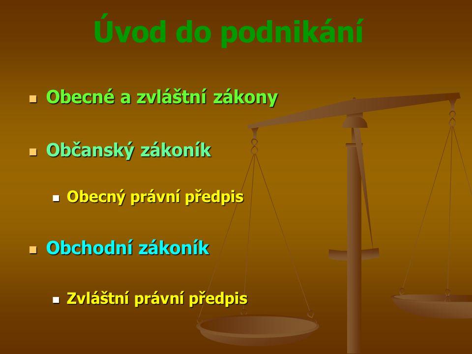 Obecné a zvláštní zákony Občanský zákoník
