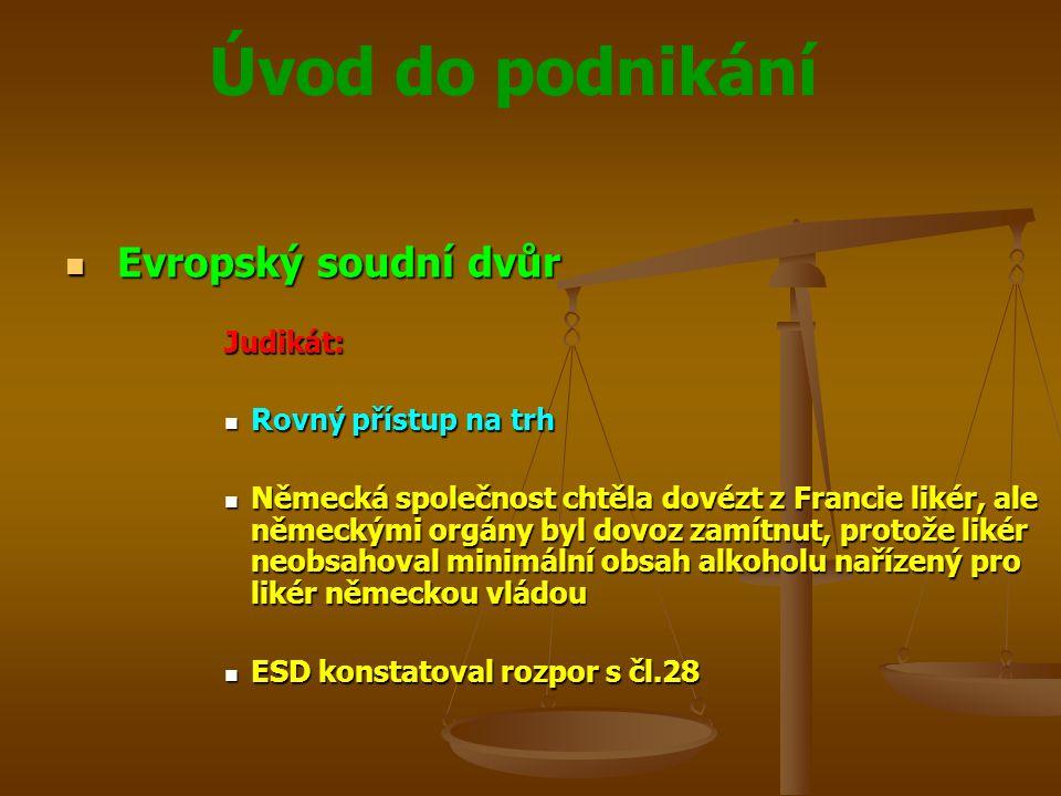 Evropský soudní dvůr Judikát: Rovný přístup na trh