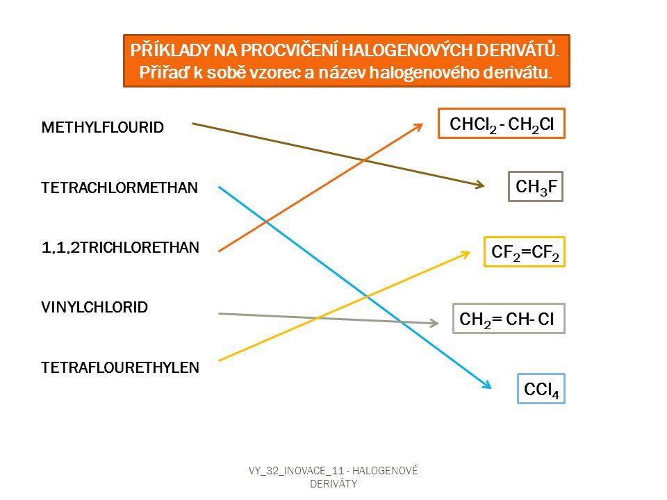 Přiřaď k sobě vzorec a název halogenového derivátu.