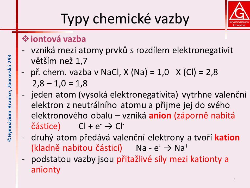 Typy chemické vazby iontová vazba