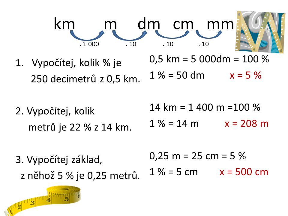 km m dm cm mm . 1 000 . 10 . 10 . 10.