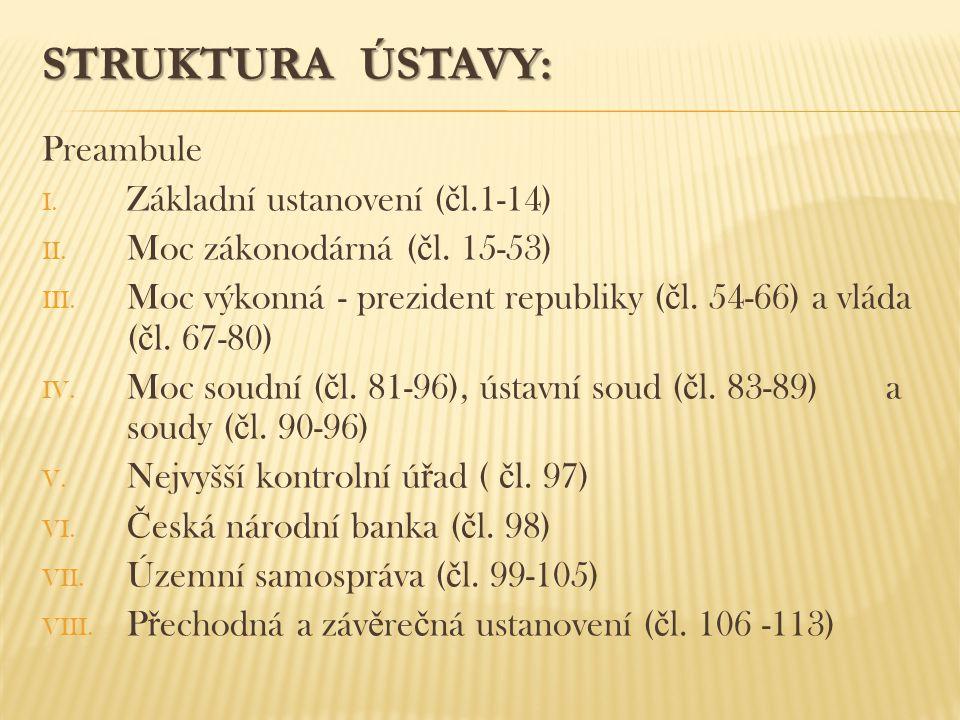 STRUKTURA ÚSTAVY: Preambule Základní ustanovení (čl.1-14)