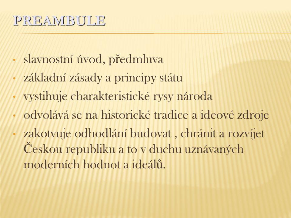 PREAMBULE slavnostní úvod, předmluva základní zásady a principy státu