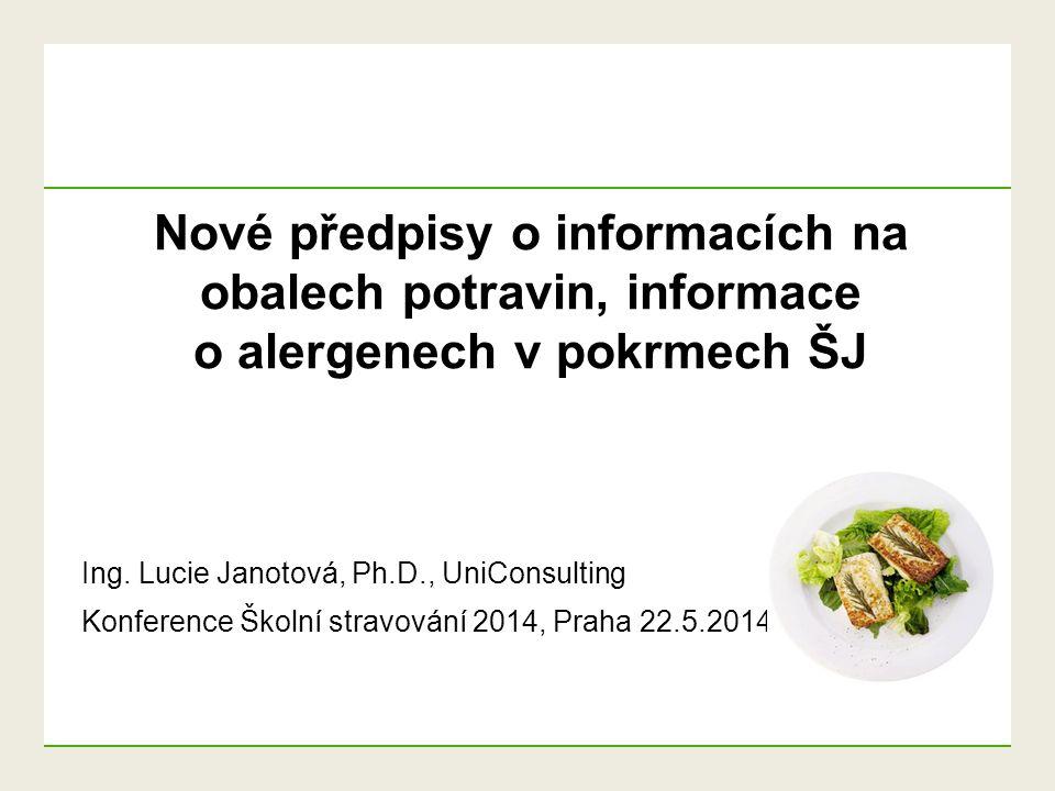 Nové předpisy o informacích na obalech potravin, informace o alergenech v pokrmech ŠJ