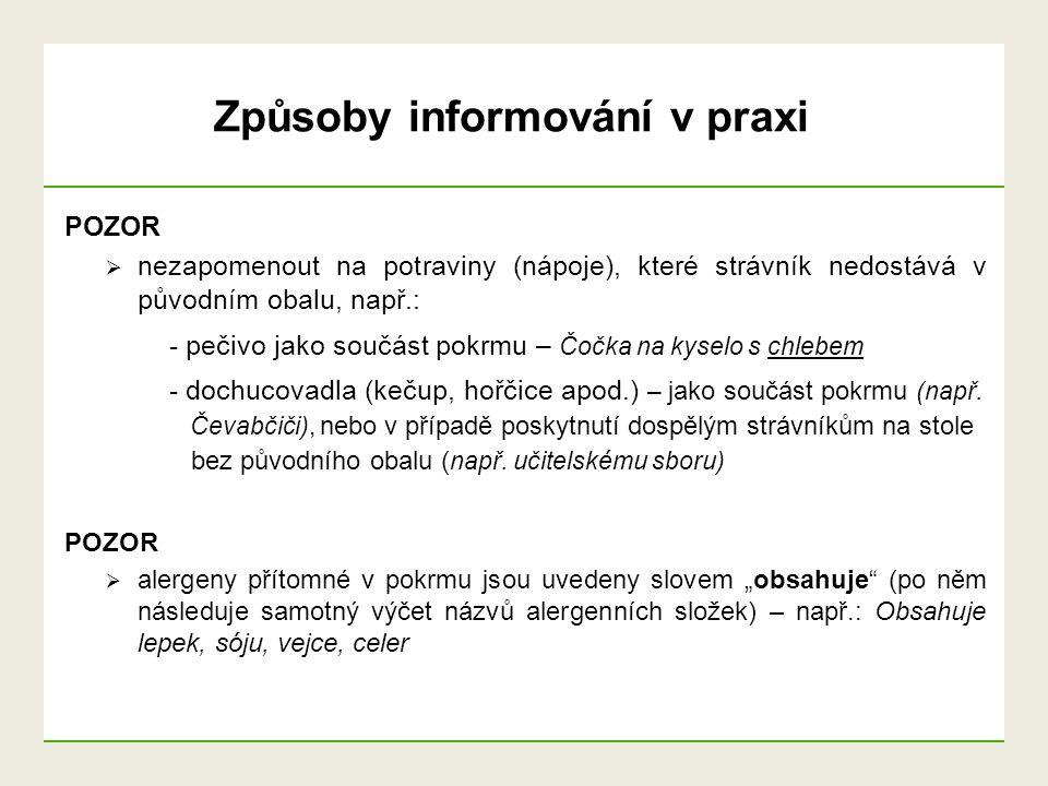 Způsoby informování v praxi