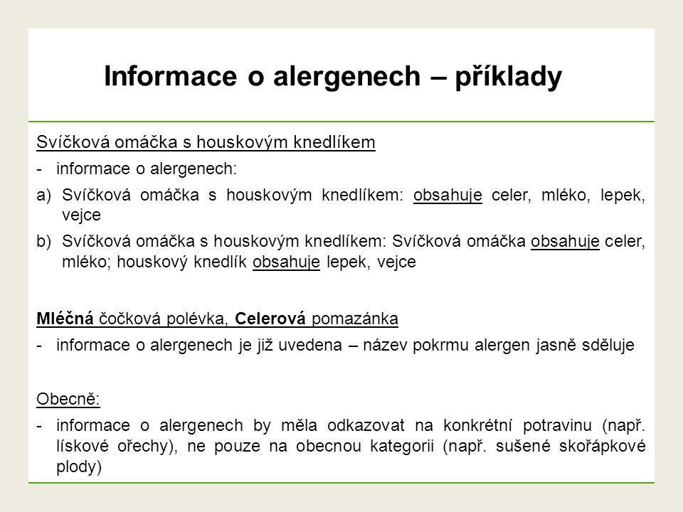 Informace o alergenech – příklady