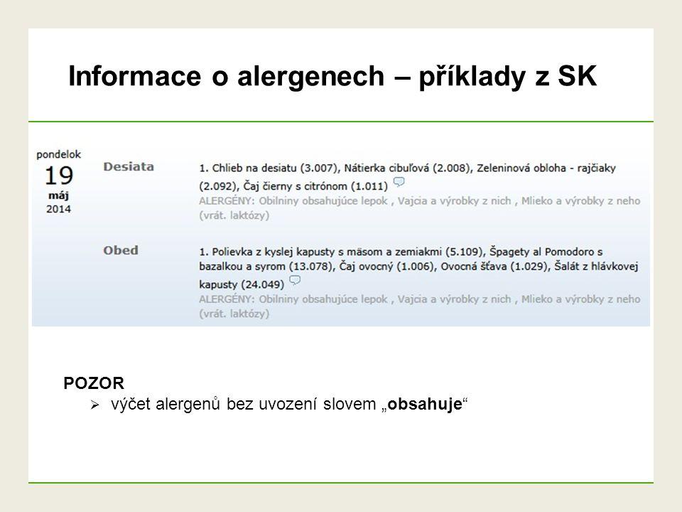 Informace o alergenech – příklady z SK