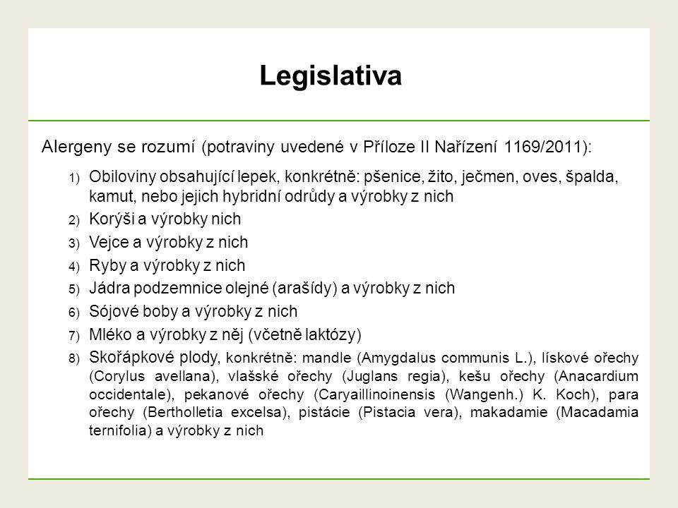 Legislativa Alergeny se rozumí (potraviny uvedené v Příloze II Nařízení 1169/2011):