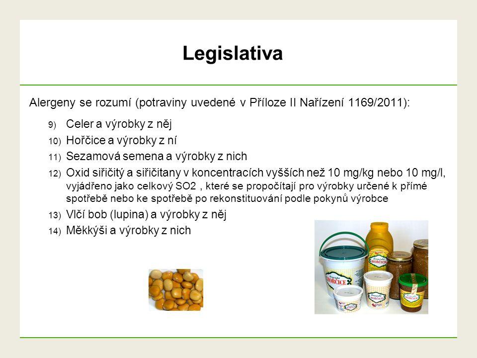 Legislativa Alergeny se rozumí (potraviny uvedené v Příloze II Nařízení 1169/2011): Celer a výrobky z něj.