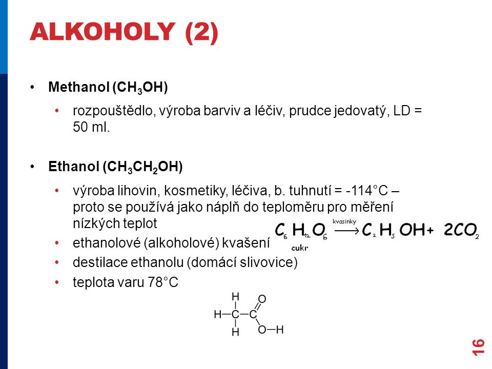 ALKOHOLY (2) Methanol (CH3OH)