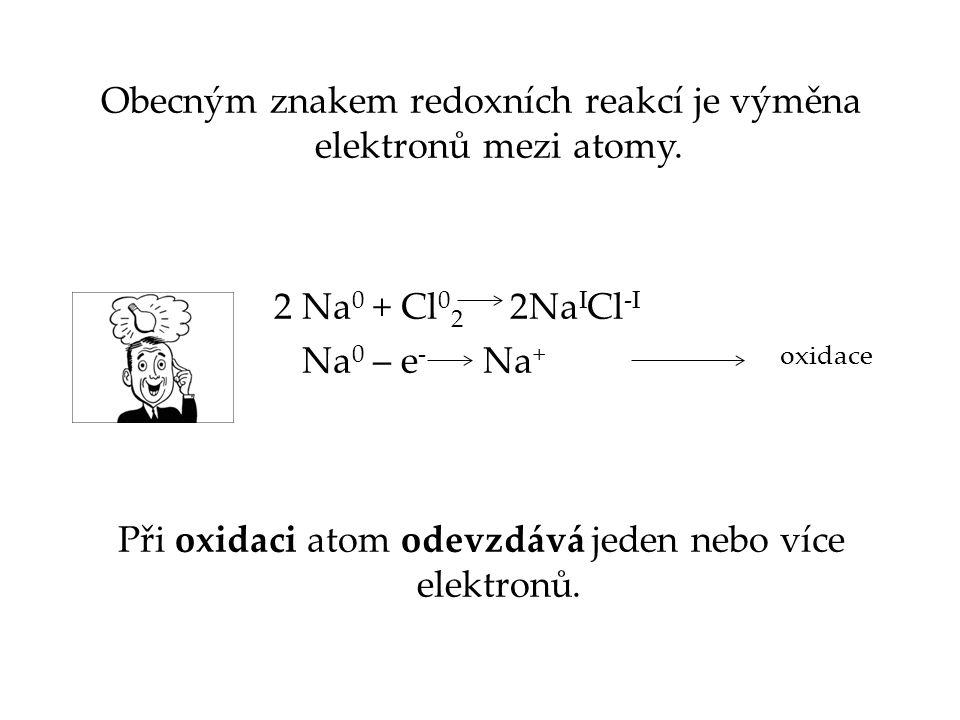 Obecným znakem redoxních reakcí je výměna elektronů mezi atomy
