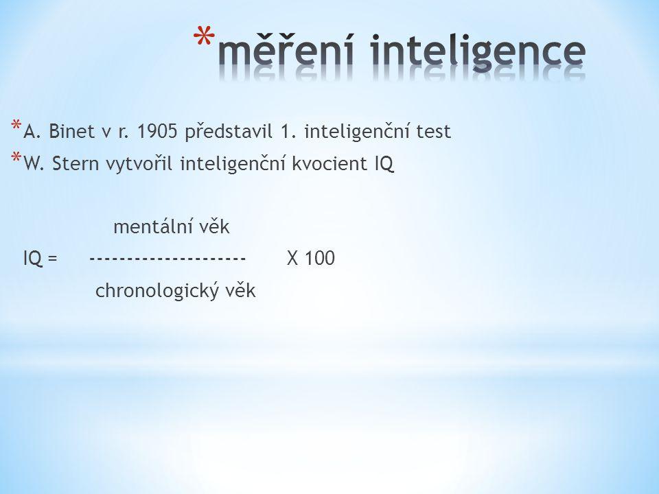 měření inteligence A. Binet v r. 1905 představil 1. inteligenční test