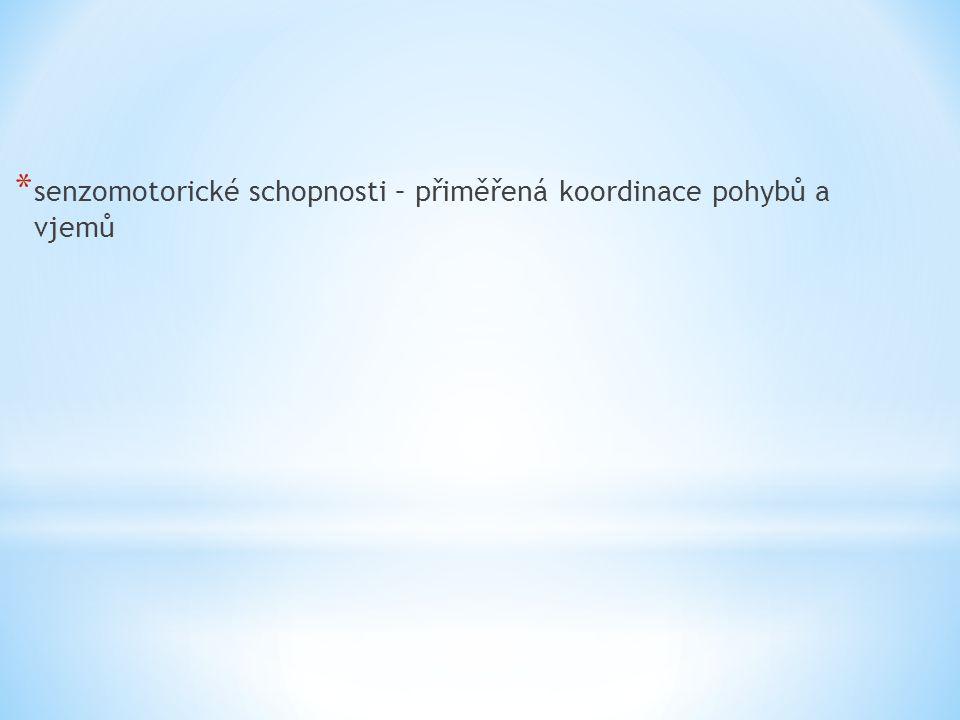 senzomotorické schopnosti – přiměřená koordinace pohybů a vjemů