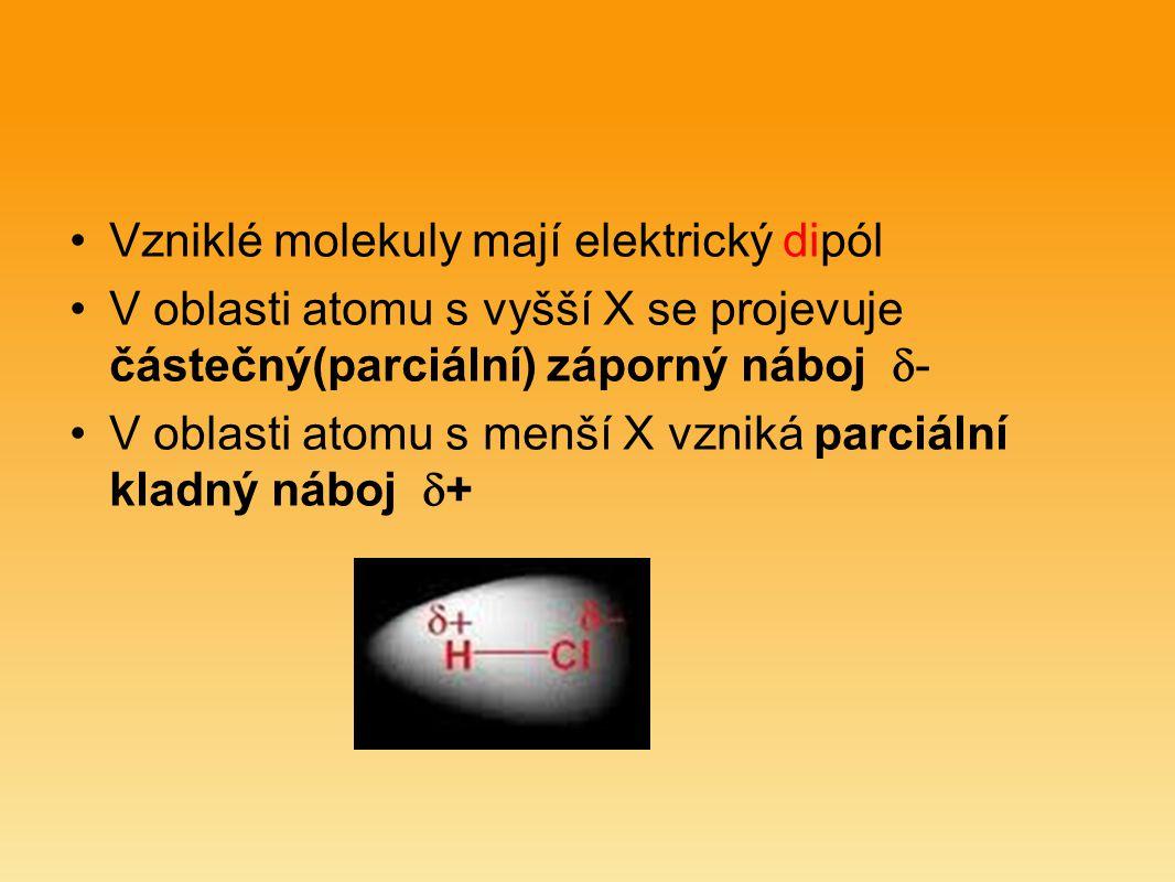 Vzniklé molekuly mají elektrický dipól