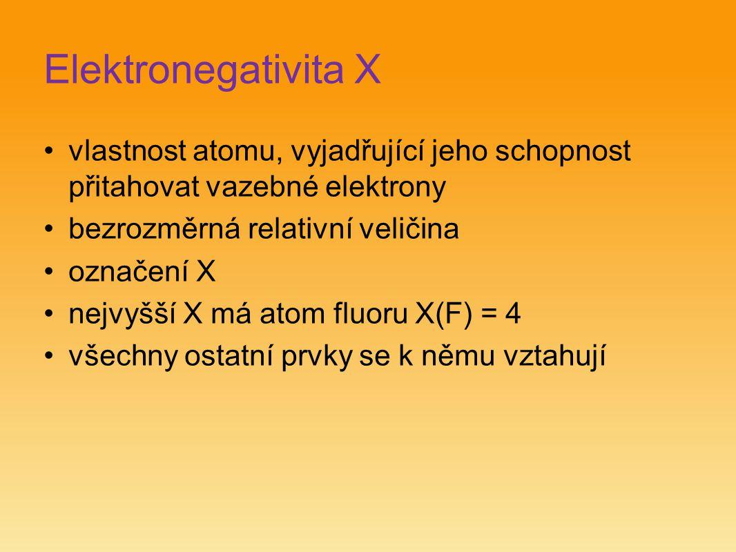 Elektronegativita X vlastnost atomu, vyjadřující jeho schopnost přitahovat vazebné elektrony. bezrozměrná relativní veličina.