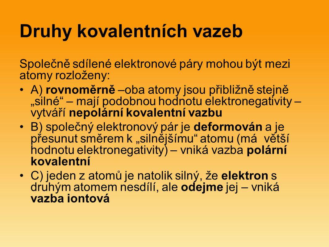 Druhy kovalentních vazeb