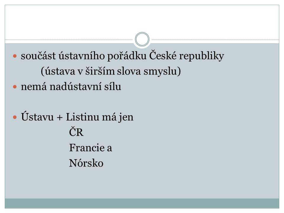 součást ústavního pořádku České republiky