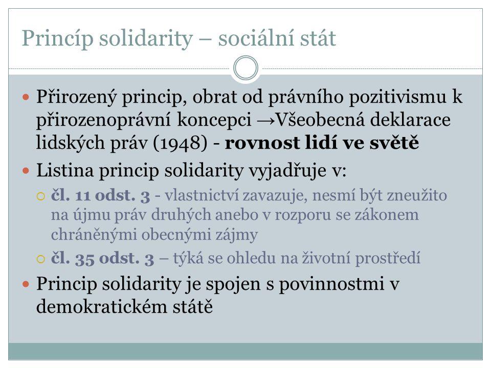 Princíp solidarity – sociální stát