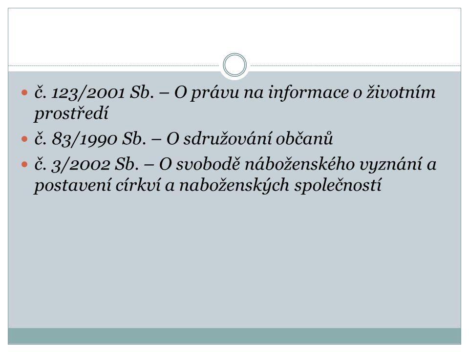 č. 123/2001 Sb. – O právu na informace o životním prostředí