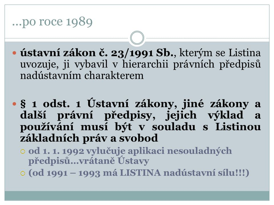 ...po roce 1989 ústavní zákon č. 23/1991 Sb., kterým se Listina uvozuje, ji vybavil v hierarchii právních předpisů nadústavním charakterem.