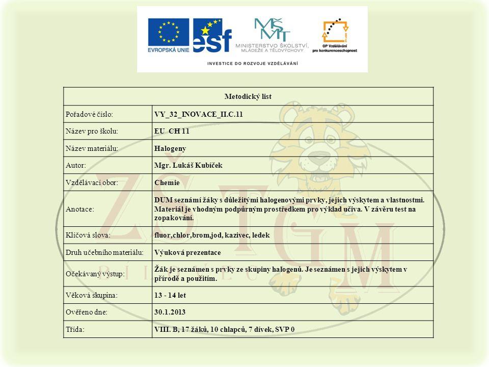 Metodický list Pořadové číslo: VY_32_INOVACE_II.C.11. Název pro školu: EU CH 11. Název materiálu: