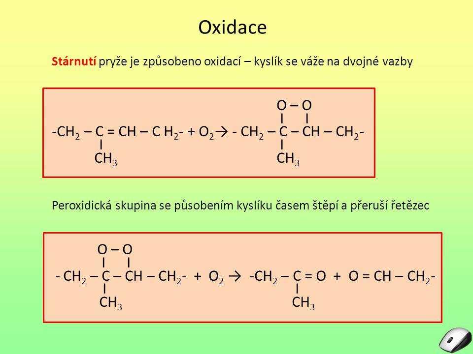 Oxidace O – O I I -CH2 – C = CH – C H2- + O2→ - CH2 – C – CH – CH2-