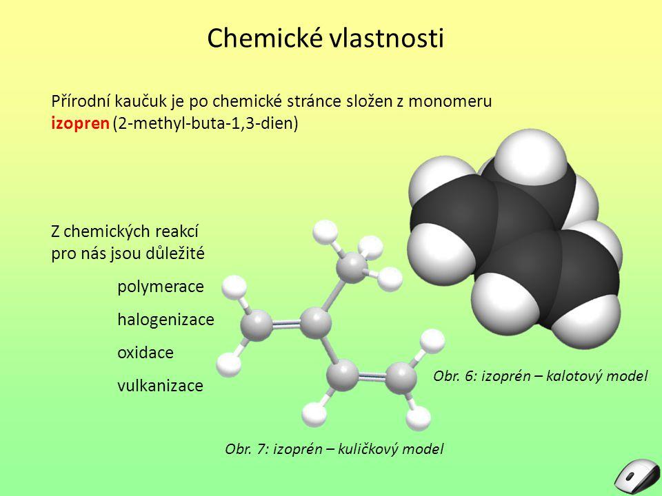 Chemické vlastnosti Přírodní kaučuk je po chemické stránce složen z monomeru izopren (2-methyl-buta-1,3-dien)
