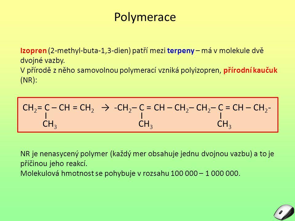 Polymerace CH2= C – CH = CH2 → -CH2– C = CH – CH2– CH2– C = CH – CH2-