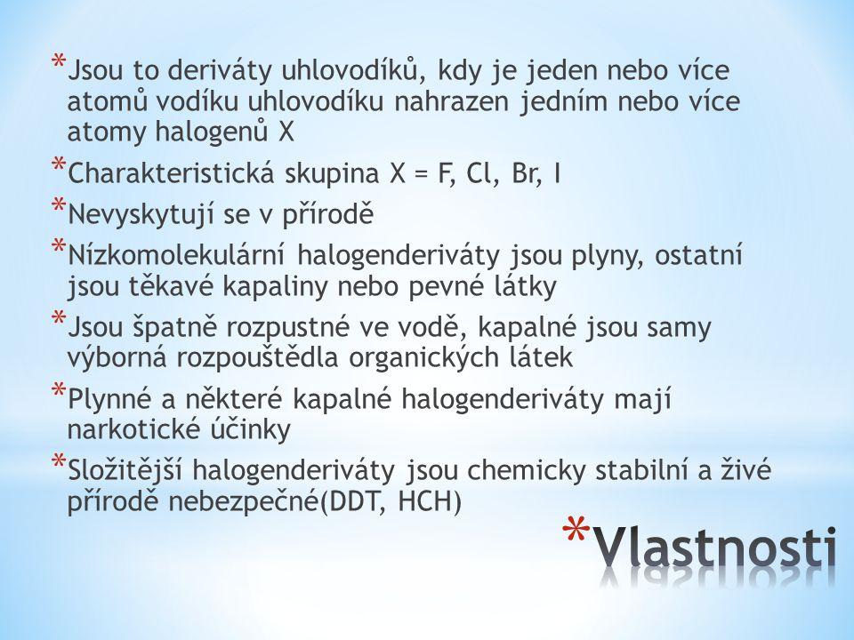 Jsou to deriváty uhlovodíků, kdy je jeden nebo více atomů vodíku uhlovodíku nahrazen jedním nebo více atomy halogenů X